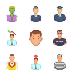Incarnation icons set cartoon style vector