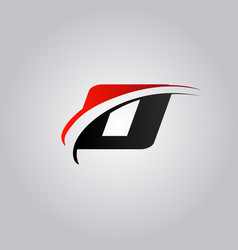 Initial o letter logo with swoosh colored red vector