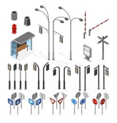 Isometric 3d street road objects icons set vector