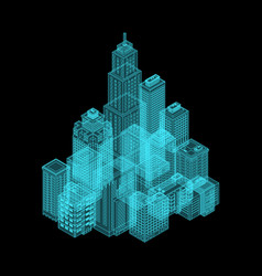 Isometric holography city vector