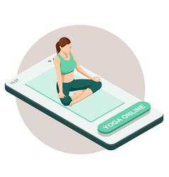 isometric sporty young woman doing yoga practice vector image