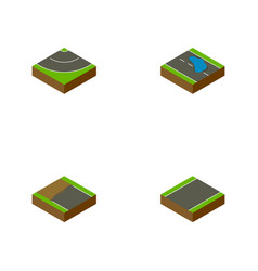 Isometric way set of unilateral road plash and vector