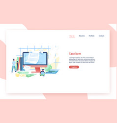 landing page template with giant computer tiny vector image