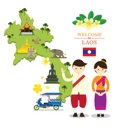 Laos map and landmarks with people in traditional vector