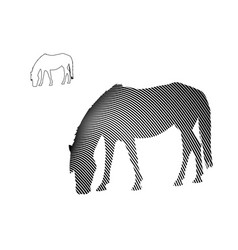 line art of horse eating grass on white background vector image