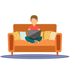 male character sitting on couch in room in yoga vector image