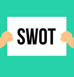 man showing paper swot text vector image