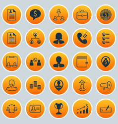 management icons set collection of team structure vector image