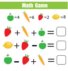 Math educational game for children mathematical vector