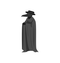 Medieval plague doctor with black hat and long vector