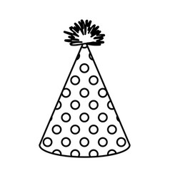 Monochrome silhouette of party hat with several vector