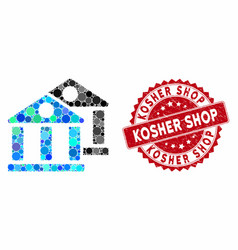 Mosaic banks with scratched kosher shop seal vector