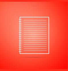 notebook icon isolated on orange background vector image