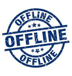 Offline blue round grunge stamp vector
