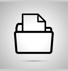 open folder with document simple black icon with vector image