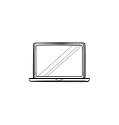 open laptop hand drawn outline doodle icon vector image