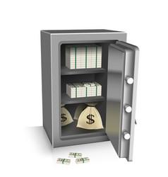 Open safe deposit 3d wealth concept vector