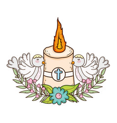 Paschal candle sacred with doves birds vector