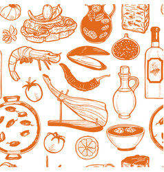 pattern with spanish food in hand-drawn style vector image