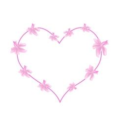 Pink Urena Lobata Flowers in A Heart Shape vector image