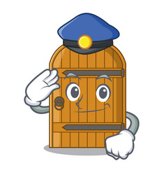 Police cartoon wooden door massive closed gate vector