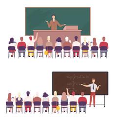 Professors giving task explaining seminar vector