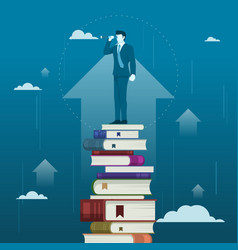 Reading will improve businessman business skill vector