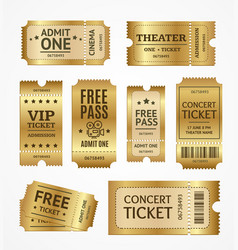 realistic detailed 3d golden tickets set vector image