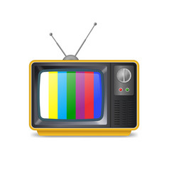 Realistic detailed 3d retro tv with antenna vector