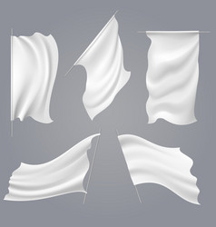 realistic white flag mockups vector image