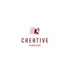 Red rooster shop retail creative business logo vector