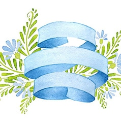 Ribbons with cornflowers and leaves vector