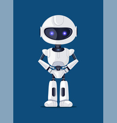 Robot of white color poster vector