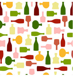 seamless pattern with color silhouette wine vector image
