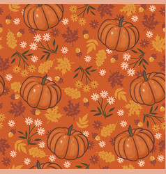 seamless pattern with flowers autumn leaves and vector image