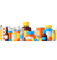 Seamless pattern with medicine bottles and pills vector