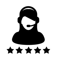 Service icon customer star ratings for female vector