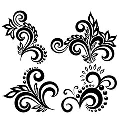 set black and white floral elements vector image