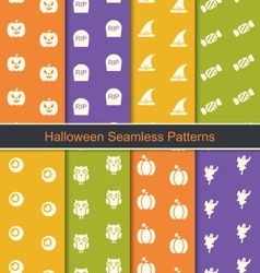 Set Seamless Abstract Patterns with Halloween vector image