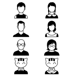 set stylized avatars or userpics people and cat vector image