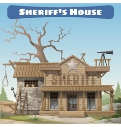 Sheriffs house with prison wild West series vector