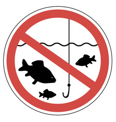 Sign time of spawning fishing is prohibited fish vector