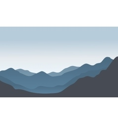 Silhouette of hills scenery in the morning vector image