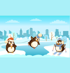 skating and skiing pinguines with ice-cream vector image