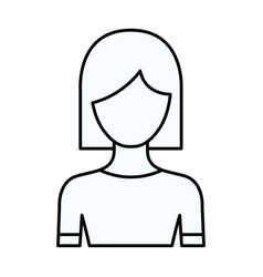 Sketch silhouette of faceless half body woman with vector