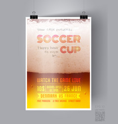 soccer cup flyer template vector image