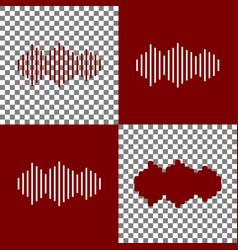 sound waves icon bordo and white icons vector image