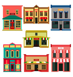 Store shop front window buildings color icon set vector
