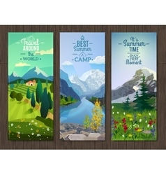 Summer landscape vertical banners set vector image