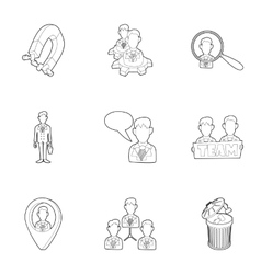 Team icons set outline style vector